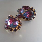 Watermelon Crystal Earrings Marquis Stones