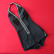 Fabulous Unworn 1930's Jantzen Black Stretch Zip Up Swimsuit White Piping