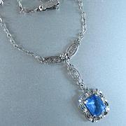 Czech Deco Sterling Blue Crystal Filigree Pendant Necklace