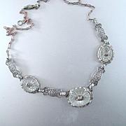 Deco Rhodium Plated 3 Panel Filigree Camphor Necklace
