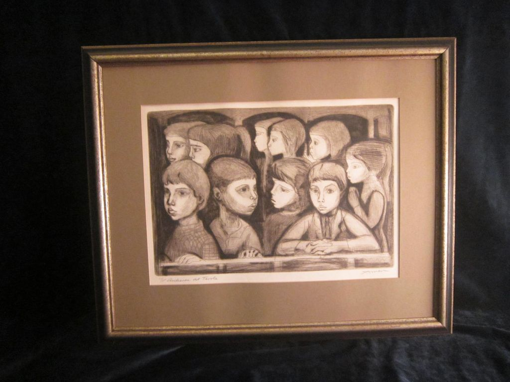 "Irving Amen Etching ""Audience At Tivoli"""