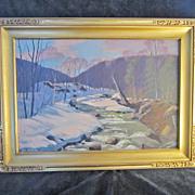 A Vintage Impressionist New England Winter Landscape