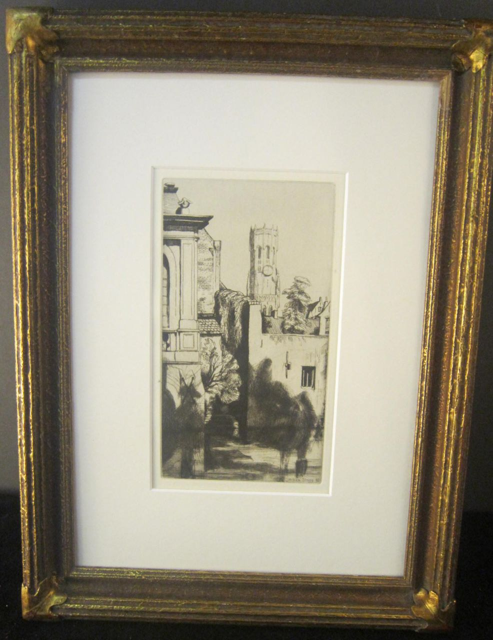"Etching and Dry Point Titled ""Belfry of Bruges"" by William Strang"