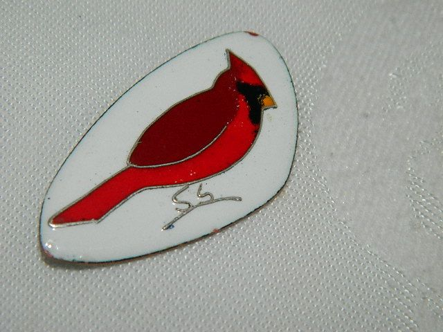 Gorgeous Hand Made Enamel Cardinal Bird Brooch ~Signed by Artist