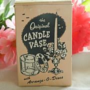 Neat Advertising ~ Decor Candle Vase with Arrange O Discs ~ 1950's