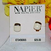 Sexy Napier Summer White Silver Tone Earrings ~ On Original Card