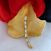Gorgeous Brushed Gold Tone Baguette Rhinestone Leaf Brooch