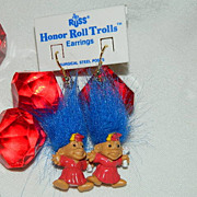 Vintage Honor Roll Graduate Troll Earrings ~ On Original Card!