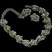 Stunning Coro Silver Tone Grape Vine Motif Parure ~ Glorious Shine