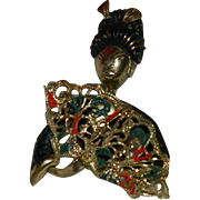 Unique Asian Lady w/Fan Pin Brooch ~ Enamel over Brass