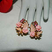 Stunning Pink Celluloid Rhinestone Floral Earrings ~ Gorgeous
