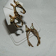 Victorian Gold Filled Double Wishbone Brooch & Earrings Paste Stones