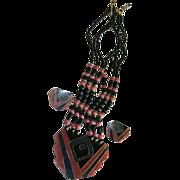 Funky Laminated Inlay Plastics Necklace & Earring Set