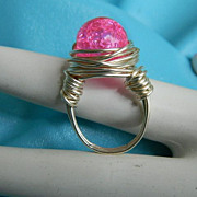 """Original by Jackie """"O"""" Cotton Candy Crackle Glass Wrapped Ring"""