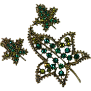 Stunning Shades of Green Fall Leaf Brooch & Earring Set 1950's