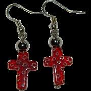 Pretty Venetian Millefiori Cross Earrings
