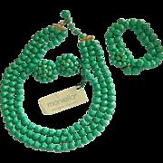 "Stunning Estate Jewelry, Marvella ""Neo-Jade"" Three Piece Suite Original TAgs"