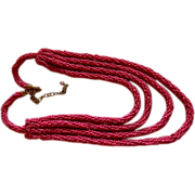 Regal Rich Raspberry Pink Seed Bead 4 Strand Necklace ~ Hand Made