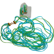 Estate Find Hong Kong Lucite Beaded Multi Strand Necklace & Hoop Earrings
