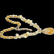 Luscious Hand Made 85 ct Citrine Pendant Necklace ~