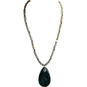 Turquoise Sophisticate Necklace ~ Pearls Sterling Silver Nacozari Turquoise