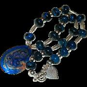 Industrial Haute! Hand Made Cobalt Blue Jasper Sterling Silver Enameled Copper Pendant ~ Necklace