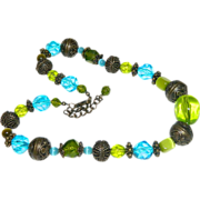 Industrial Brunette! Electric Blue Lime Green Glass & Lucite Beaded Necklace