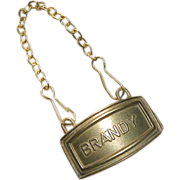 Antique Brass Brandy Bottle Label