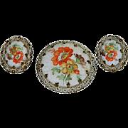 West Germany Sugar Stone Floral Spray Brooch & Earring Set