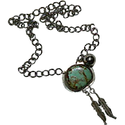 Original by Jackie O! Sterling Silver Number 8 Turquoise Native Style Necklace