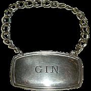 English Silver Gin Bottle Label