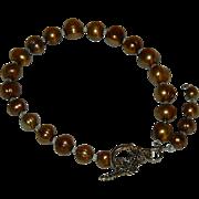 Copper Gold Freshwater Pearls Toggle Bracelet