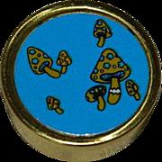 Groovy Mushrooms Gold Tone Pill Box Case