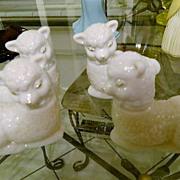 """White Milk Glass Avon """"Little Lamb"""" Cologne Bottles"""