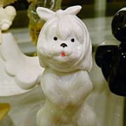 """Avon Collectable Milk Glass Celluloid """"Sweet Tooth Terrier"""" Cotillion Cologne"""