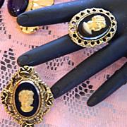 Super Pretty Gold Black Glass Cameo Set ~ Brooch & Ring