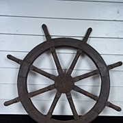 Vintage Ships Wheel From A Chinese Junk #6