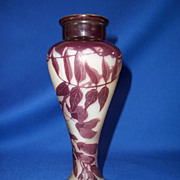 Emile Gallé (1846-1904) Cameo Glass Vase Decorated with Wild Flowers