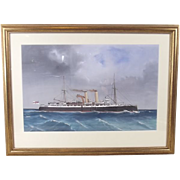Late 19th Century Italian Maritime School Gouache of HMS Vulcan