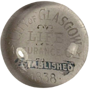 City Of Glasgow Life Assurance Advertising Glass Paper Weight