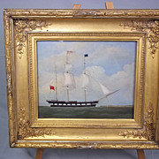 """William Clark  (Of Greenock, Scotland, 1804-1883)  Oil on Board of the Barque """"Tay"""" on the River Clyde, Signed and Dated 1843"""