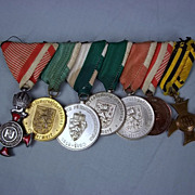 Seven Mounted Austrian Medals With 1849 Silver Military Merit Cross