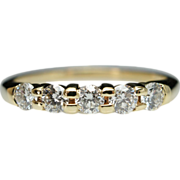 Vintage .50ct Natural Diamond 14k Yellow Gold Wedding Band - Size 6