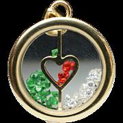 Estate Yellow Gold Gemstone Heart Pendant