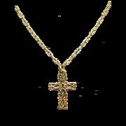 Estate 14k Yellow Gold Freeform Natural Cross Pendant Necklace
