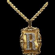 "Estate Yellow Gold & Diamond ""R"" Pendant Necklace"