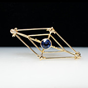 Vintage Art Deco Lab Created Sapphire Brooch in 14k Yellow Gold