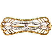 Edwardian Diamond and Pearl Brooch in 18k and Platinum