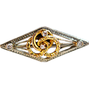 18K white & yellow gold Hand Constructed Diamond Art Deco Period Bar Brooch Pin