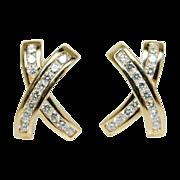 Vintage Natural Diamond X's Stud Earrings 14k Yellow Gold